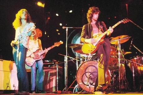Jimmy Page (right) performing with Led Zeppelin in an undated photo.